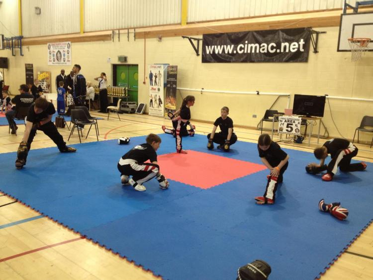 Martial arts class warm up